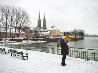 My colorful umbrella in the winter Wroclaw (Breslau)
