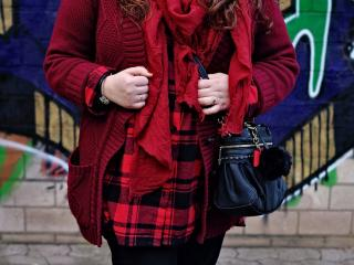 Red tartan plus size shirt