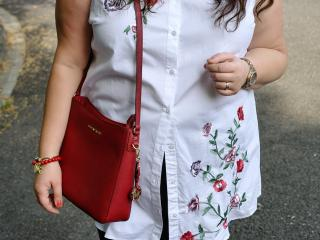 Embroidered plus size shirt